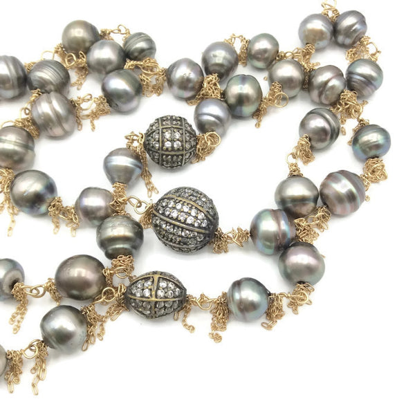 14k Gold Fringed South Sea Pearl Necklace: SOLD - Van Der Muffin's Jewels - 4
