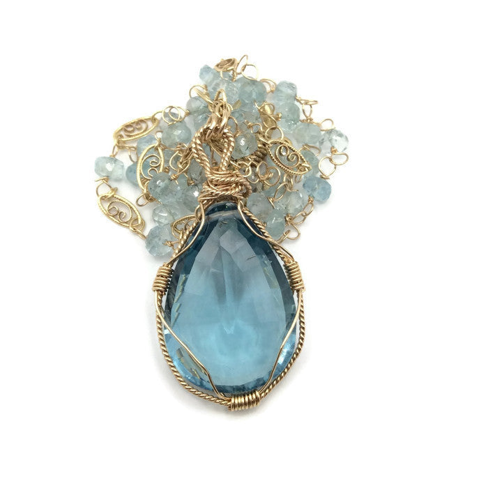 Swiss Blue Topaz Necklace - Van Der Muffin's Jewels - 3