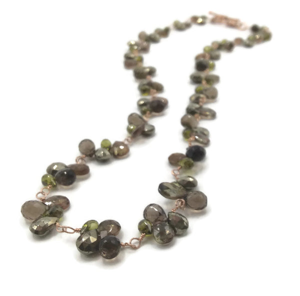 Shades Of Autumn Gemstone Cluster Necklace