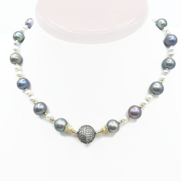 14K Pave Pearl Necklace - Van Der Muffin's Jewels - 6