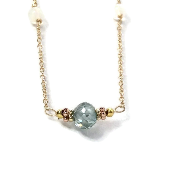 Diamond Station Necklace - Van Der Muffin's Jewels - 3
