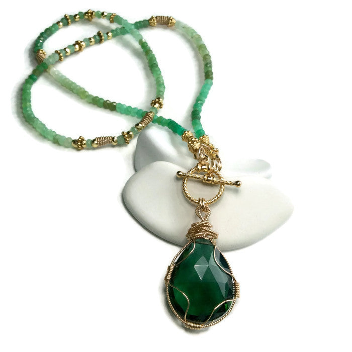 Green Aventurine Toggle Necklace - Van Der Muffin's Jewels - 2