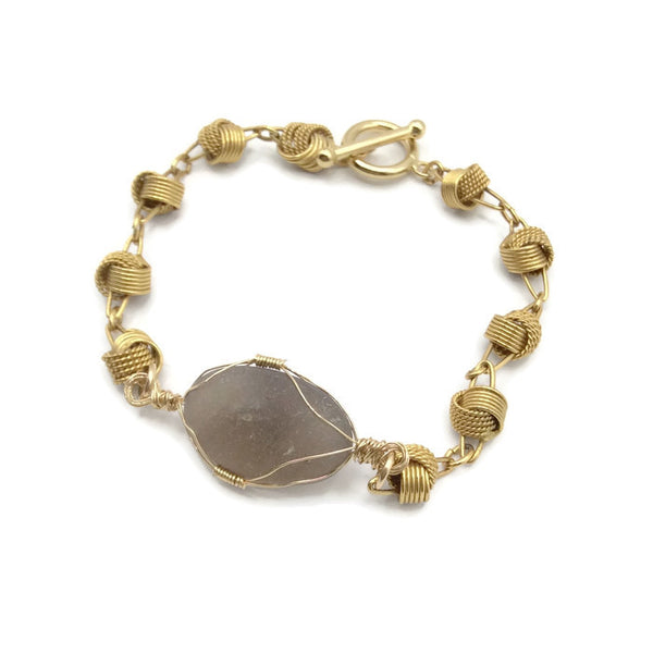 Gray Sea Glass Bracelet
