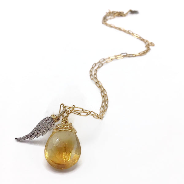 Citrine Teardrop Angel Wing Necklace