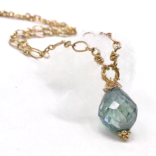 Sky Blue Diamond Pendant Necklace