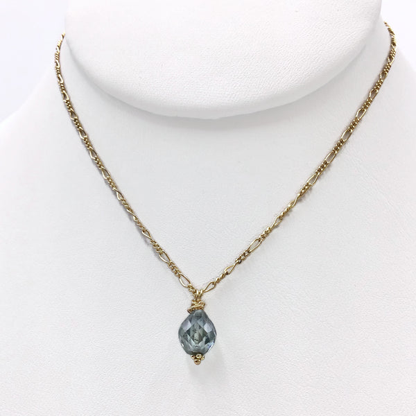 Fancy Blue Teardrop Diamond Necklace