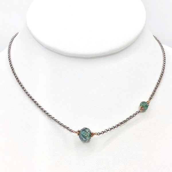Asymmetrical Blue Diamond Necklace