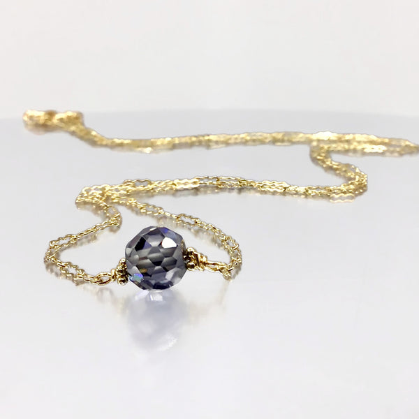 Steel Blue Diamond Choker Necklace