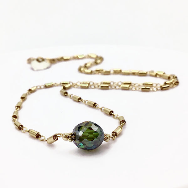 Fancy Green Antique Diamond Necklace