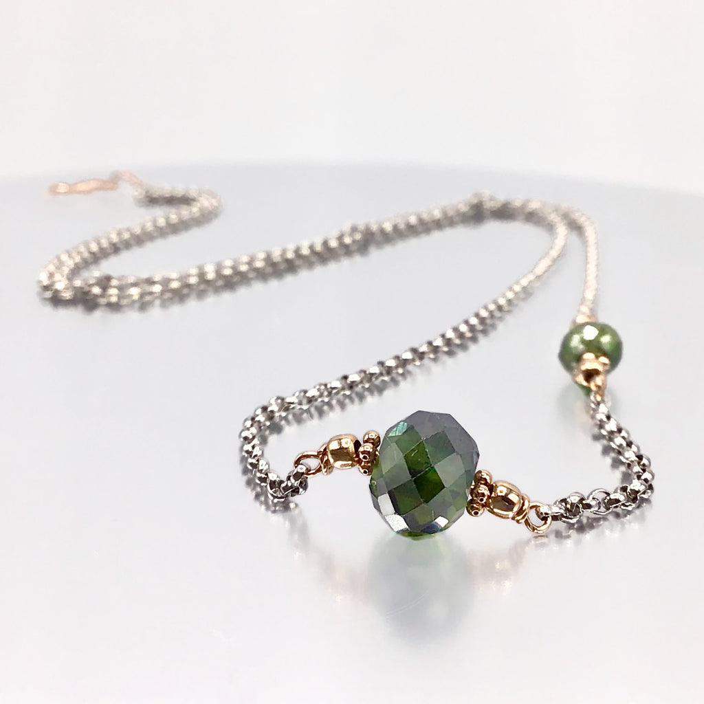 Asymmetrical Green Diamond Necklace