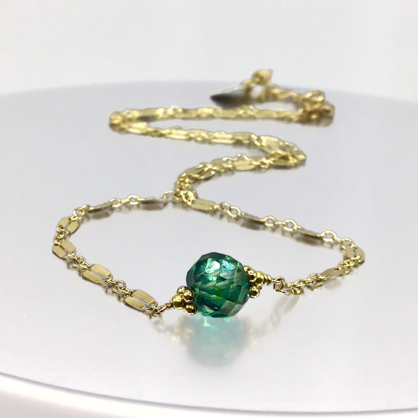 Robin's Egg Blue Antique Diamond Necklace