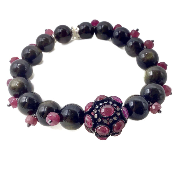 Ruby Beaded Obsidian Gemstone Bracelet