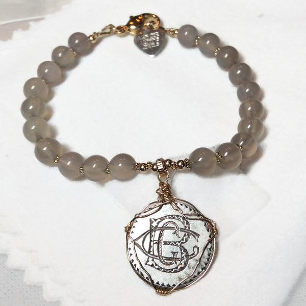 'BCG' Engraved Antique Love Token 14K Gold Bracelet - Van Der Muffin's Jewels