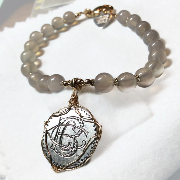 'BCG' Engraved Antique Love Token 14K Gold Bracelet