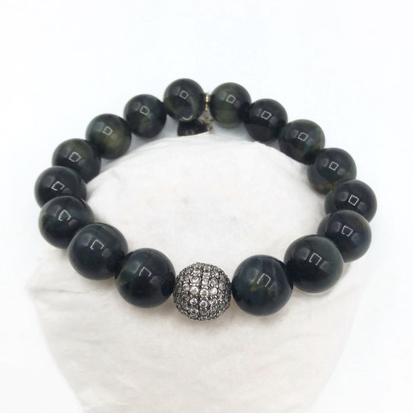 *Pave Sapphire & Obsidian Beaded Bracelet - Van Der Muffin's Jewels