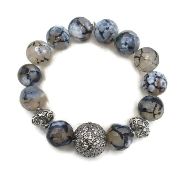 White Sapphire & Botswana Agate Pave Bead Bracelet - Van Der Muffin's Jewels