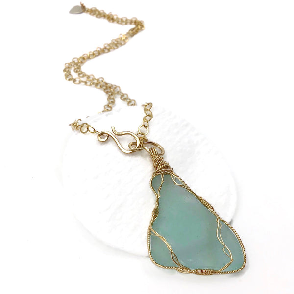 Turquoise Hampton's Sea Glass Pendant Necklace