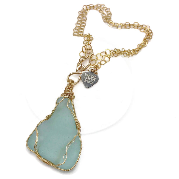 turquoise sea glass pendant