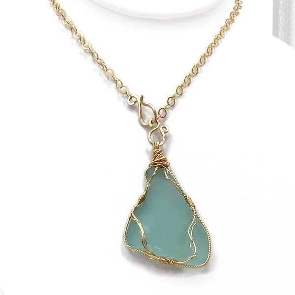turquoise beach glass necklace