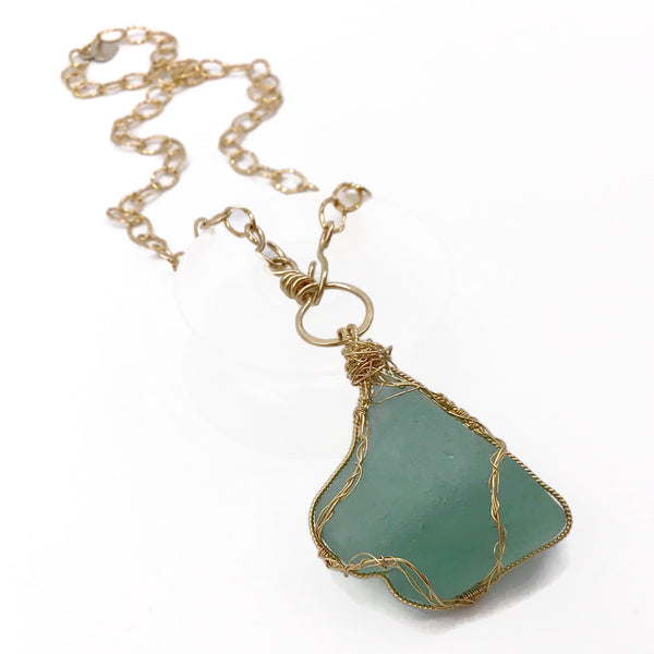 teal sea glass pendant