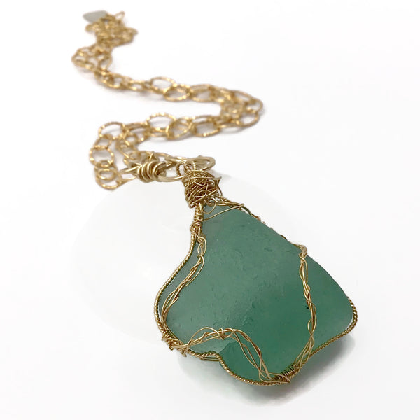 teal green sea glass necklace