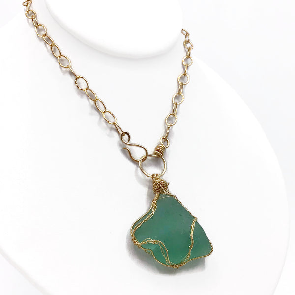 sea glass toggle necklace