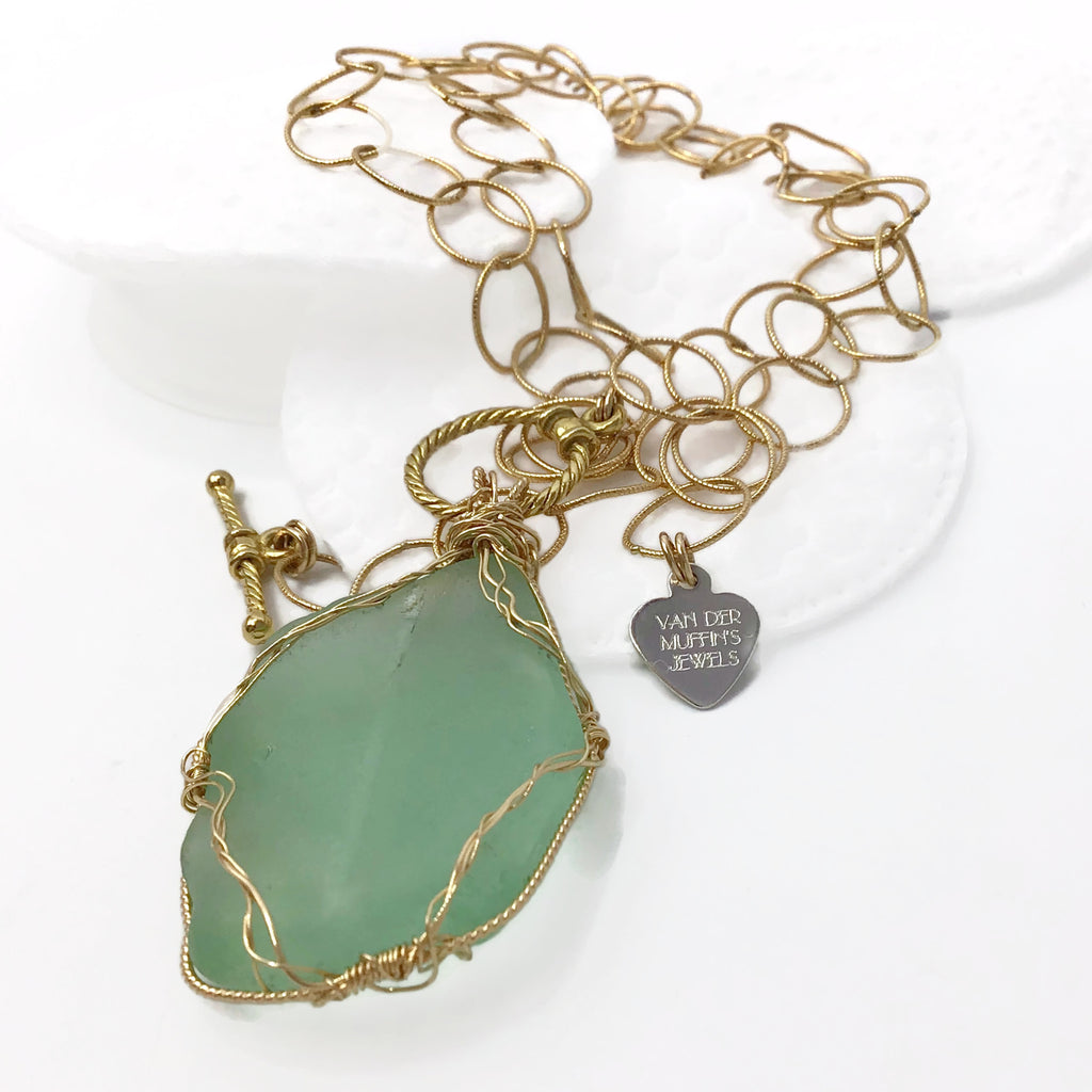 Hampton's Sea Glass Vintage Coke Bottle Necklace