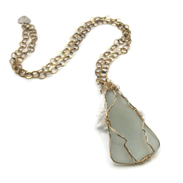 Aqua Blue Sea Glass Necklace
