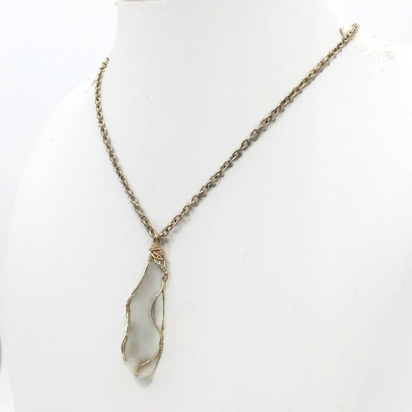 Soft Aqua Sea Glass Necklace