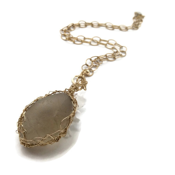 Extremely Rare Gray Sea Glass Necklace