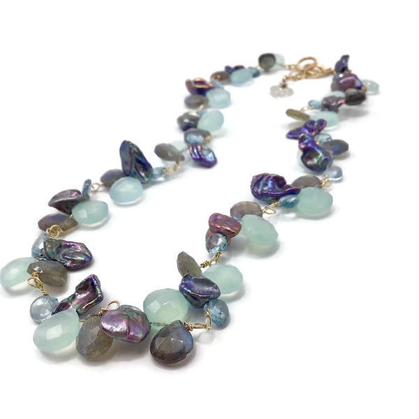 Aqua Multi Gemstone Cluster Necklace