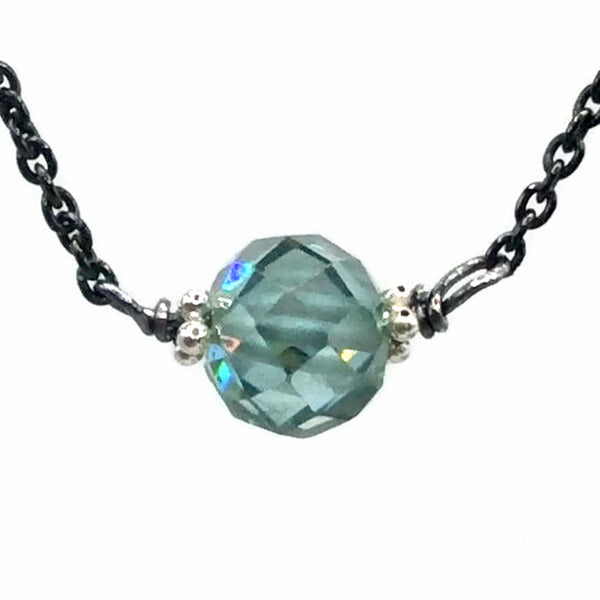 1.0 Carat Antique Blue Diamond Necklace