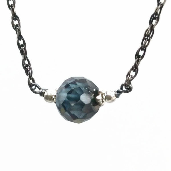 2.30 Carat Antique Blue Diamond Necklace