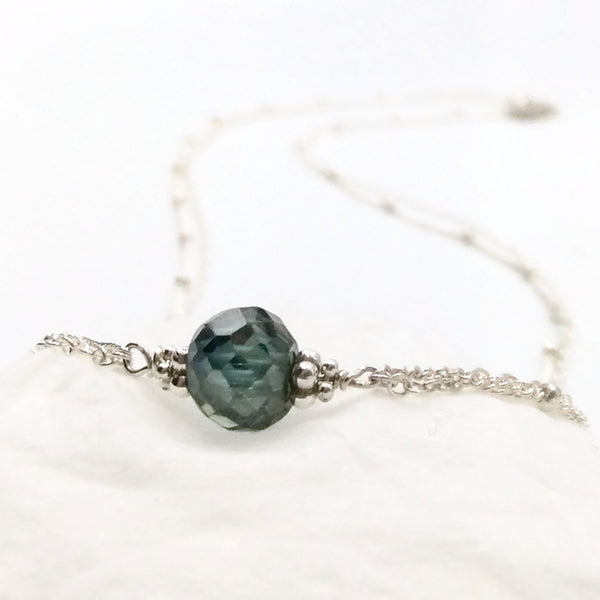 2.50 Carat Antique Blue Diamond Necklace