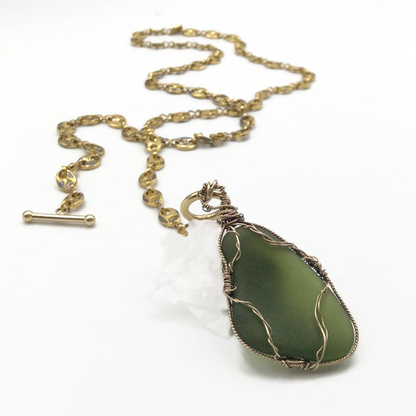 Olive Green Vintage Hampton's Sea Glass Necklace - Van Der Muffin's Jewels