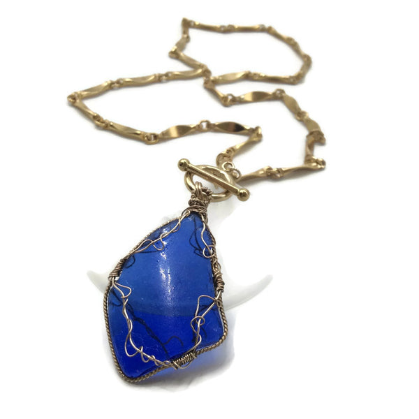 Cobalt Blue Vintage Hampton's Sea Glass Necklace