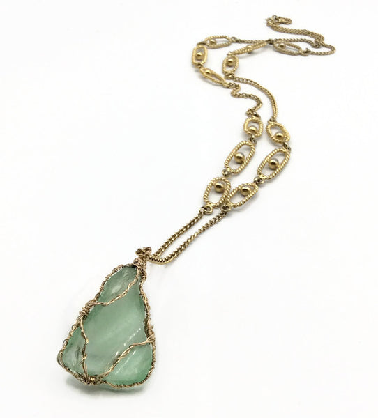 Vintage Aqua Long Hampton's Sea Glass Necklace