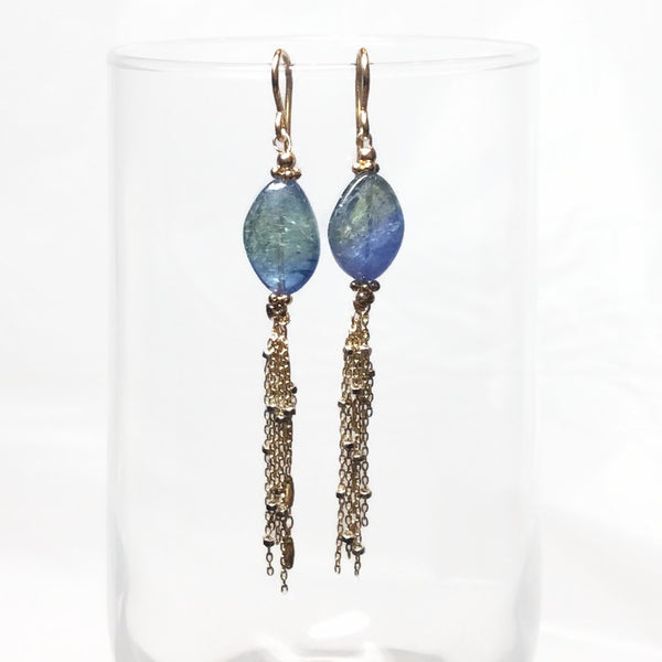 Blue-Green Tanzanite Tassel Earrings - Van Der Muffin's Jewels