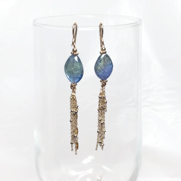 Blue-Green Tanzanite Tassel Earrings