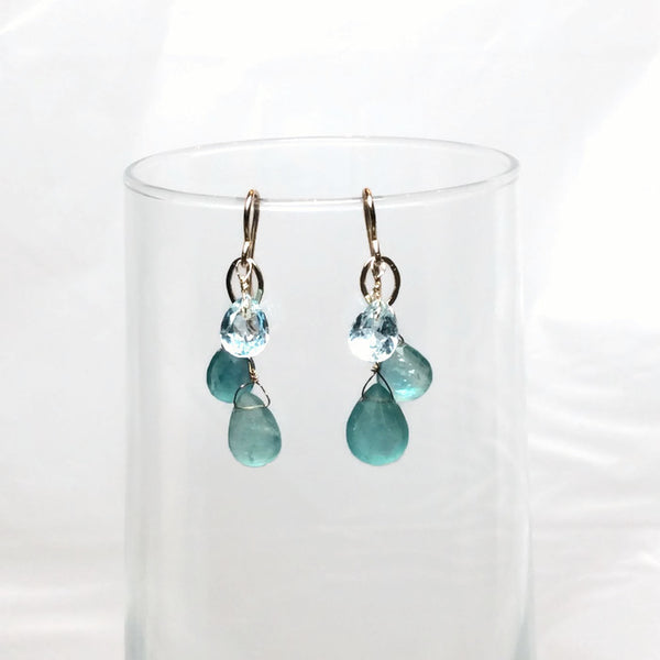 Aqua Gemstone Waterfall Cluster Earrings