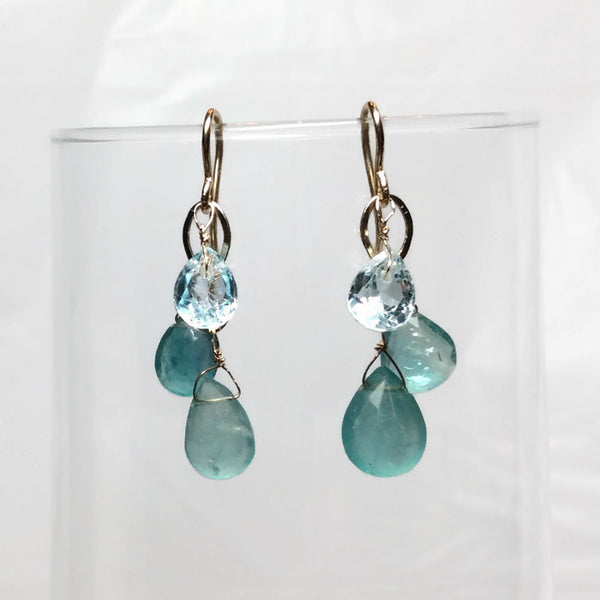 Aqua Gemstone Teardrop Earrings