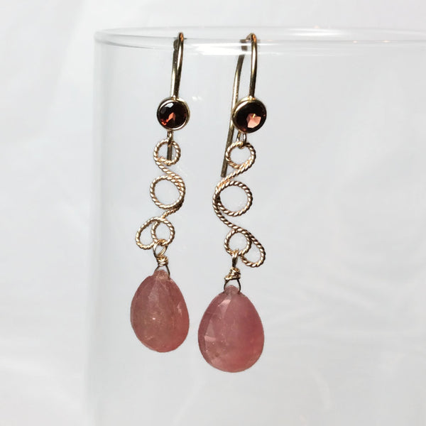 Sunset Sapphire Fancy Filigree Earrings - Van Der Muffin's Jewels