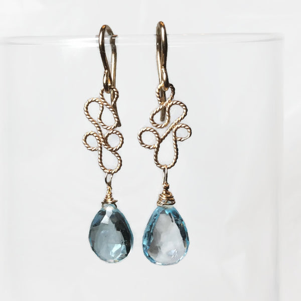 Blue Topaz Paisley Filigree Earrings