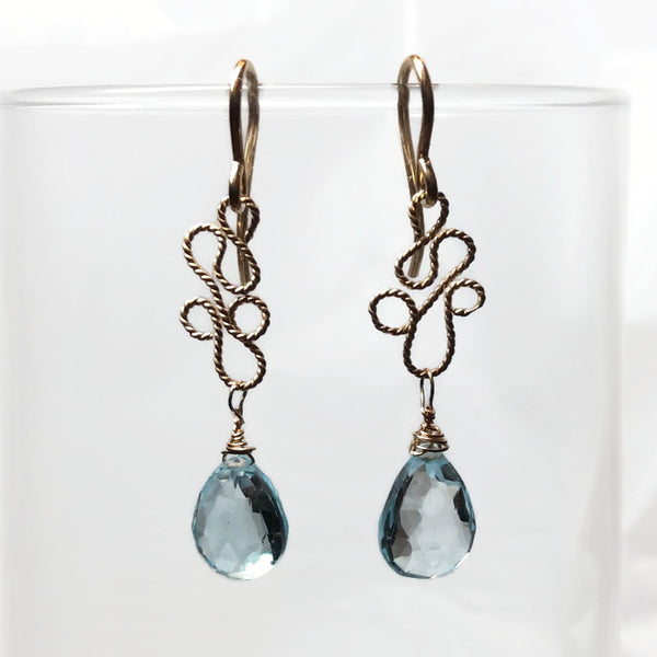 Blue Topaz Paisley Teardrop Earrings
