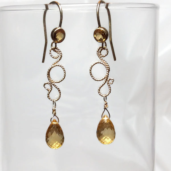 Sparkling Citrine Fancy Filigree Earrings