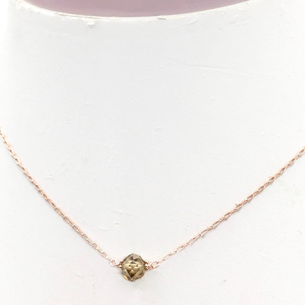 2.30 Carat Champagne Diamond Solitaire Necklace - 14K Solid Rose Gold