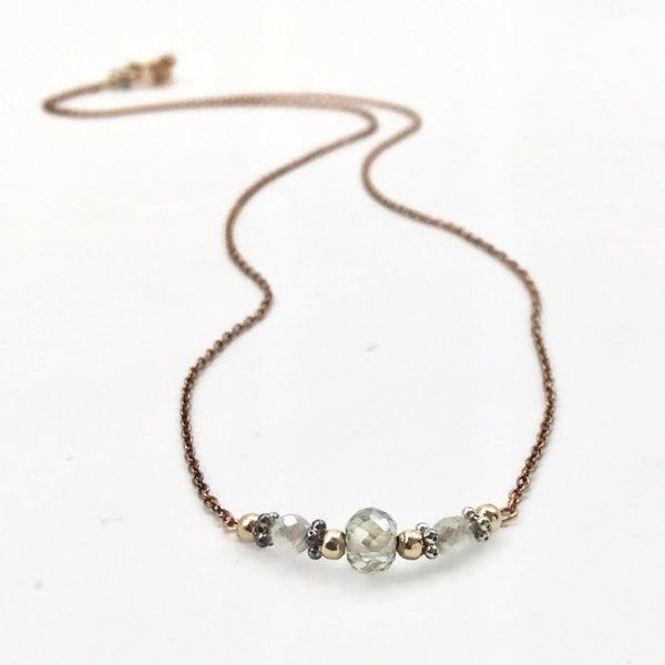 1.2 Carat Diamond Bar Necklace ~ 14k Rose Gold