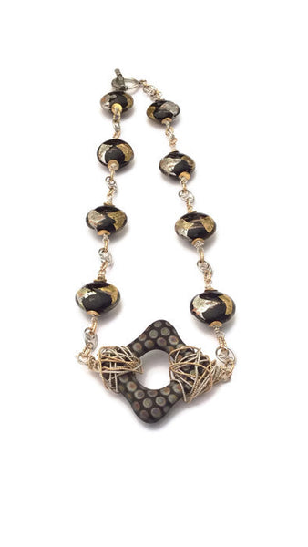 Black And Gold Dotted Square Necklace - Van Der Muffin's Jewels