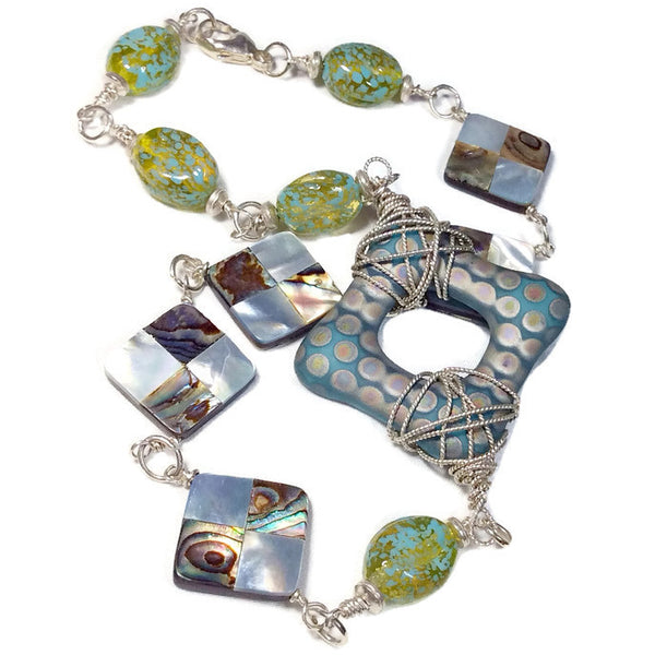 Czech Glass Dotted Square Necklace - Van Der Muffin's Jewels