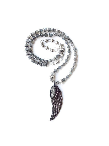 **SOLD** Diamond Angel Wing Pave Luxe Necklace - Van Der Muffin's Jewels